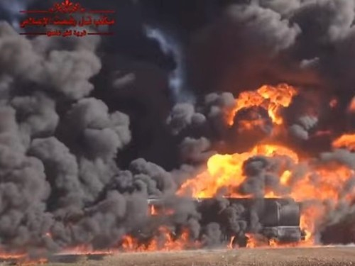 Video footage of the alleged aftermath of Russia bombing ISIS oil trucks in Syria just emerged