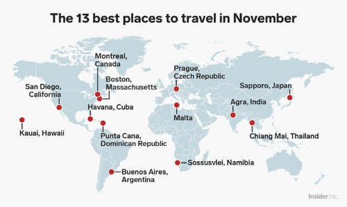 13 places to travel in November for every type of traveler