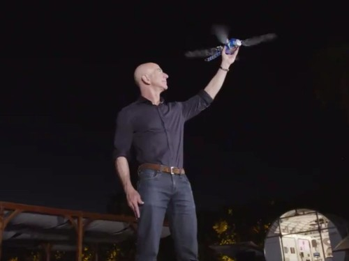 Jeff Bezos tweeted a video of himself playing with a swooping robot dragonfly at his invite-only robotics conference