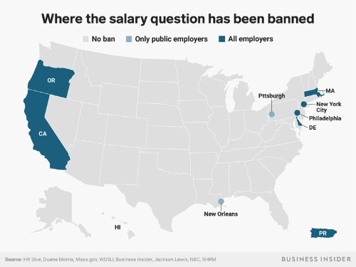 9 places in the US where job candidates may never have to answer the dreaded salary question again