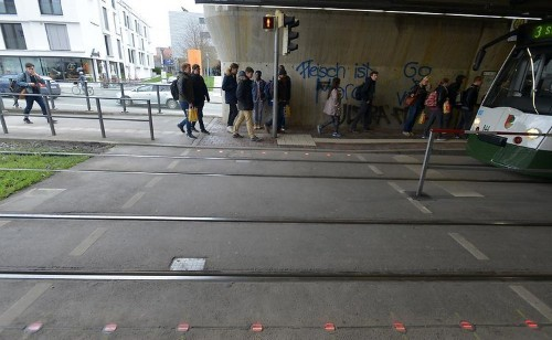 A German city embedded traffic lights in its sidewalks to protect distracted texters