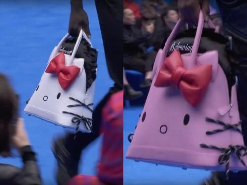 Male models walked the Balenciaga runway at Paris Fashion Week carrying Hello Kitty handbags