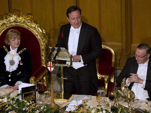 Here's David Cameron Calling For Permanent Austerity In Front Of All Kinds Of Ridiculous Gold Things
