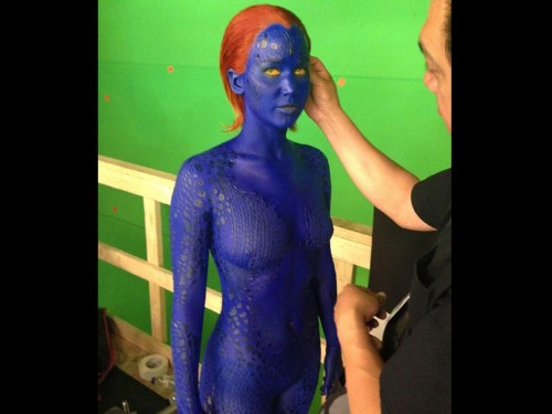 It Takes A Crazy Amount Of Time For Jennifer Lawrence To Get Into Her Blue 'X-Men' Makeup