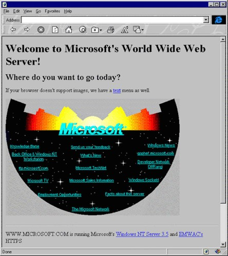 This Is Microsoft's Very First Web Page ... Back In 1994