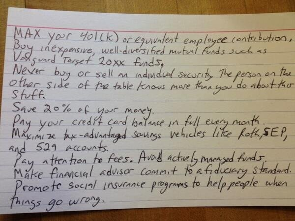 All Of The Financial Advice You're Ever Going To Need Is Written On This Index Card