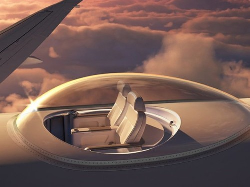 Business travelers may soon be able to fly in glass bubbles on top of private jets