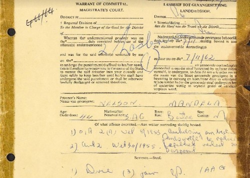 Here's The Infamous 1962 Document Committing Mandela To Prison