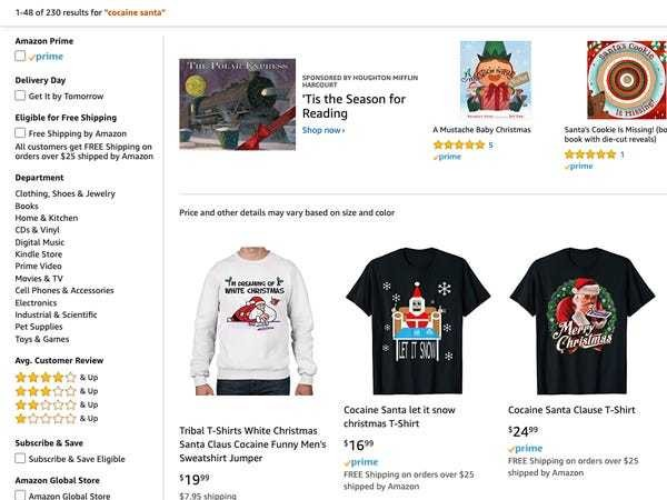 Walmart's controversial cocaine Santa sweatshirt remains on Amazon - Business Insider