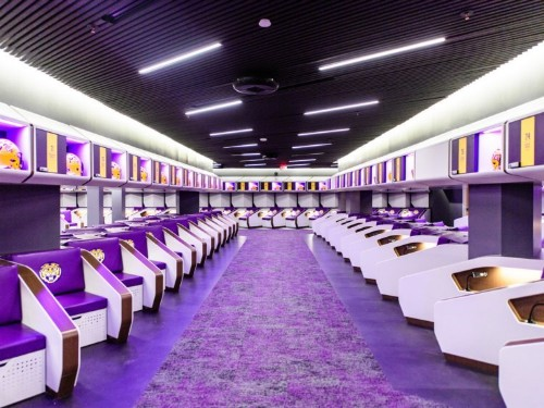 LSU football unveiled its state-of-the-art $28 million locker room, complete with luxury sleep pods