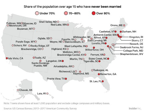 Here's the town in every state with the most single people