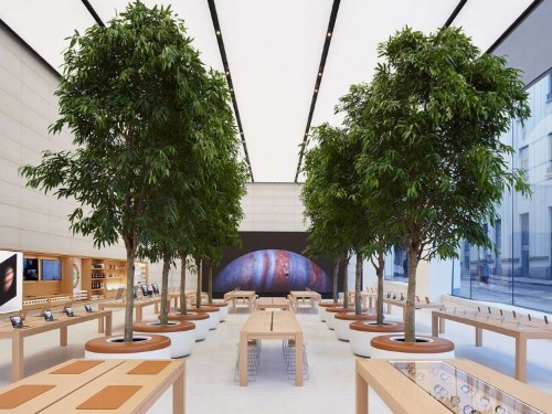 The newest Apple Store has motion-sensitive power outlets that open when you wave your hand