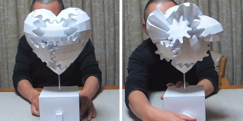 A Japanese designer makes moving paper ornaments that intertwine like mechanical gears