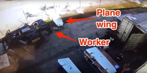 Video shows plane crash-landing and barely missing a worker