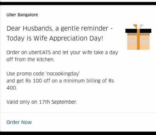 Uber slammed for promotion that offered to 'let your wife take a day off from the kitchen'