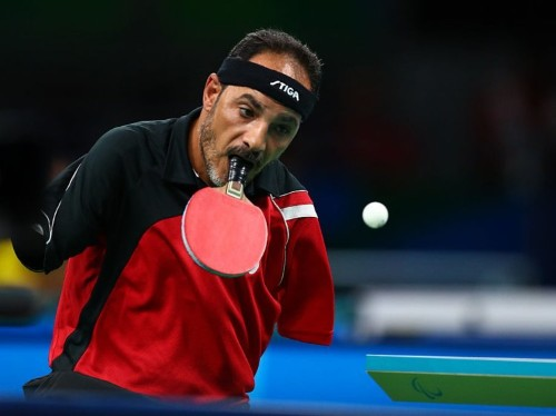 An armless Egyptian Paralympic table tennis player trained himself how to flick the ball with his toes and hold the paddle in his mouth