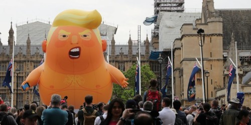 The Trump baby blimp which makes him 'feel unwelcome' has been raised in London to protest his state visit