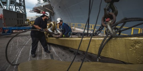 A 32-ton anchor from America's first nuclear-powered aircraft carrier is finding new life
