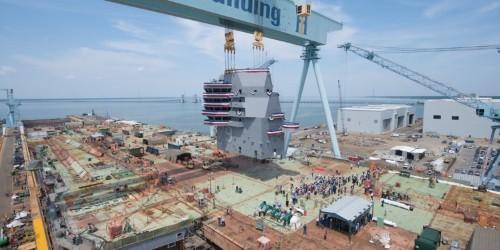 Navy aircraft carrier John F Kennedy island construction
