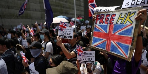 Hong Kong protesters sing 'God Save The Queen' outside British consulate