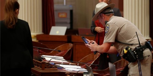 An anti-vaxx protestor was arrested for dropping 'menstrual blood' on California lawmakers