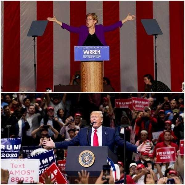 Difference between Donald Trump and Elizabeth Warren rallies: Photos - Business Insider