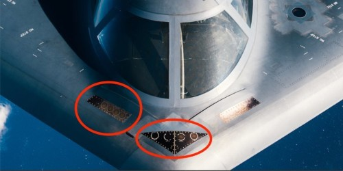 The Air Force published a close-up photo of some of the B-2 bomber's most important sensors