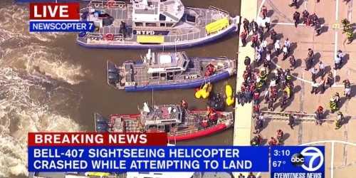 A helicopter has crashed into the Hudson River in New York City