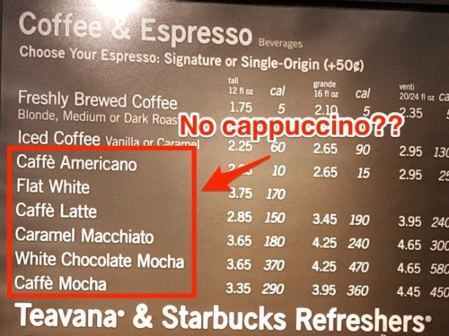 Starbucks quietly took the cappuccino off the menu in many stores, and it makes perfect sense