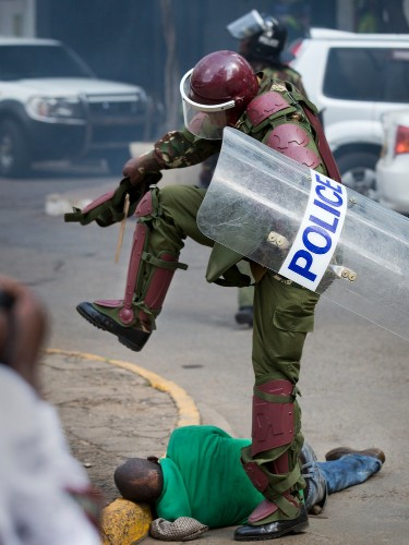 Shocking photos show Kenyan police brutally beating protesters in central Nairobi