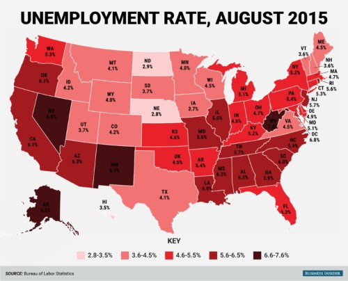 Here's every state's unemployment rate