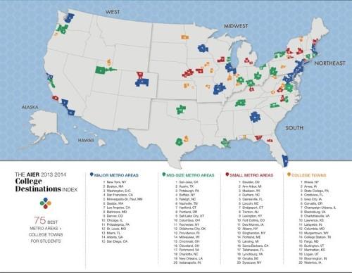 MAP: The Top College Destinations In America