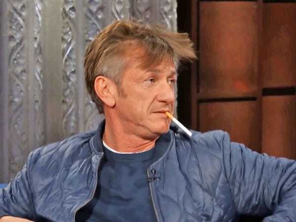 Sean Penn smoked a cigarette on 'The Late Show' and people are furious - Business Insider