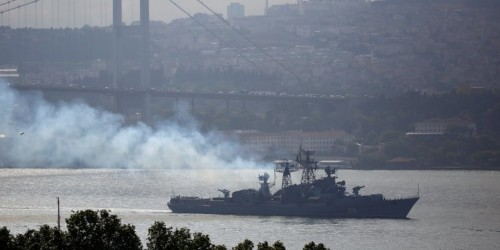 Russian warship sails into line of fire during multinational exercise