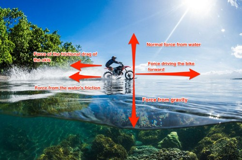 There's a sneaky trick that is allowing this biker to seemingly defy physics by driving on water