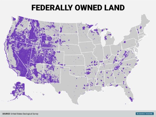This map shows the huge amount of land the federal government owns in the American West