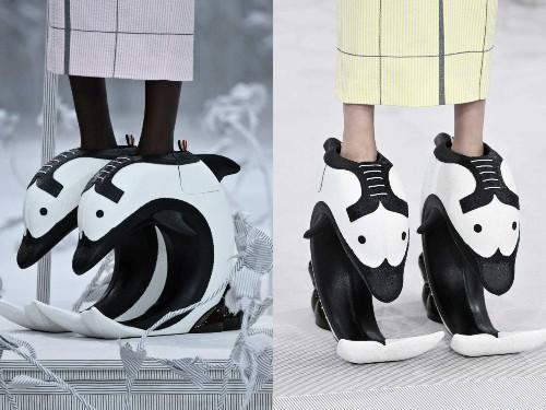 Paris Fashion Week: Photos of models wearing dolphin 'pedestal shoes'