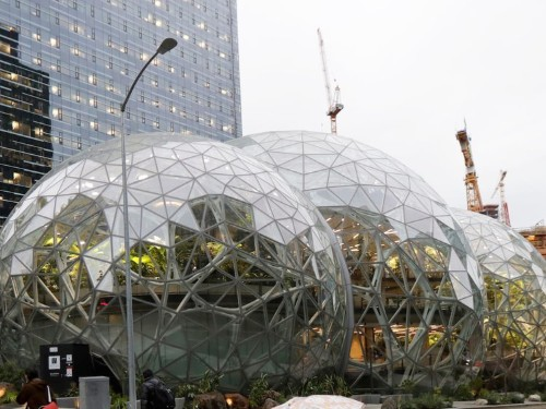 Jeff Bezos stands on Amazon's spheres to celebrate Prime Day