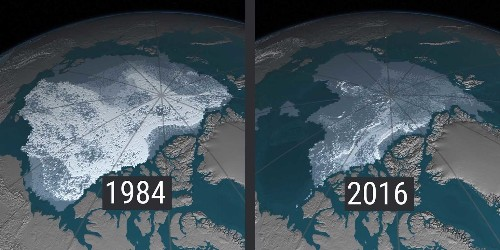 This map by NASA shows the drastic amount of ice that's disappeared from the Arctic