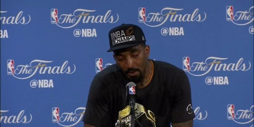 JR Smith breaks down in tears while discussing his family's influence on his journey to his first NBA championship