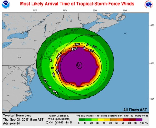 Tropical Storm Jose is bringing dangerous surf, rip currents, and wind to the East Coast
