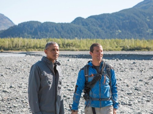 How Bear Grylls got Obama to eat half-chewed salmon from a bear on tonight's 'Running Wild'