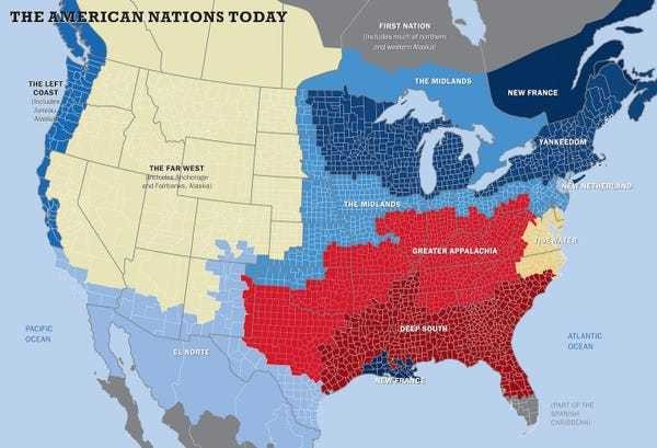 This map shows the US really has 11 separate 'nations' with entirely different cultures - Business Insider