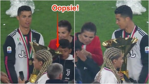VIDEO: Cristiano Ronaldo hit his son on the head with a massive trophy