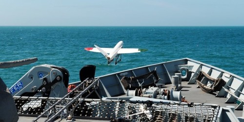 Watch British researchers launch a 3D-printed drone off of a warship
