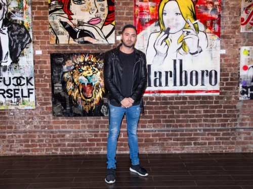 An artist whose work is getting snatched up by celebrities is tearing up the art world all by himself