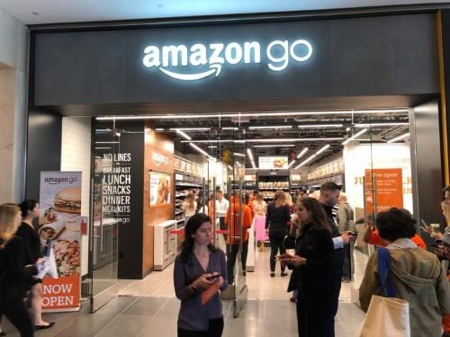 Amazon Go customers buy snacks