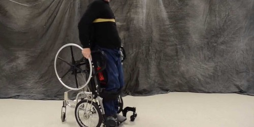There's a new wheelchair that lets people stand up and move around at the same time