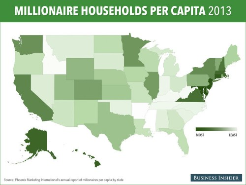 MAP: Here's Which States Have The Most Millionaires Per Capita