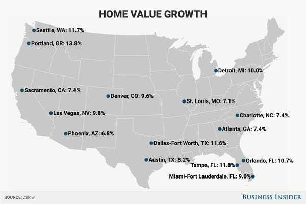 How much the average home costs in the 15 most popular big cities - Business Insider